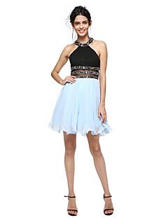 TS Couture® Coquetel Vestido - Costas Lindas / Mini Eu Linha A Decorado com Bijuteria Curto/Mini Algodão com Miçangas