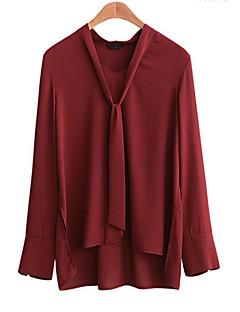 Damen Solide Street Schick / Anspruchsvoll Lässig/Alltäglich / Übergröße Hemd,V-Ausschnitt Herbst / Winter Langarm Rot / Schwarz