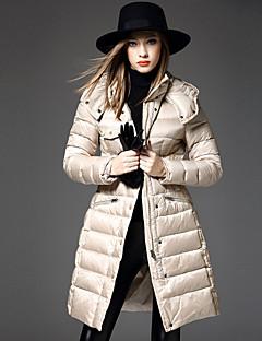 Damen Daunen Mantel Einfach Lässig/Alltäglich Solide-Polyester Weiße Entendaunen Langarm Beige Mit Kapuze