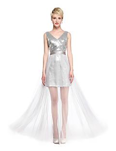 Lanting Bride® Na zem Tyl Flitry Různorodé šaty Zářivé Šaty pro družičky - Pouzdrové Do V s Šerpa / Stuha