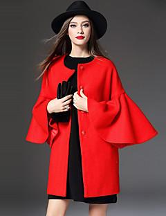 Damen Solide Einfach Lässig/Alltäglich Mantel,Winter Rundhalsausschnitt Langarm Rot Wolle / Polyester