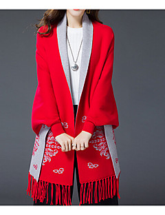 Women's Casual/Daily Plus Size Simple Regular Cloak / Capes,Solid Blue Red Round Neck Long Sleeve Cotton Rayon Fall Winter Medium