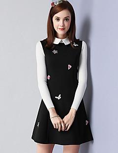 Damen A-Linie Kleid-Lässig/Alltäglich Einfach Stickerei Hemdkragen Übers Knie Langarm Schwarz Baumwolle Nylon Elasthan HerbstMittlere