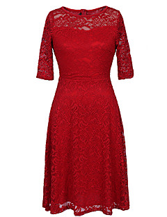 Women's Plus Size / Casual/Daily / Party/Cocktail Vintage / Street chic Sheath DressPrint Lace Round Neck Knee-length  Length Sleeve Red