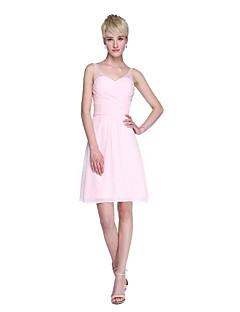 Lanting Bride® Curto/Mini Chiffon Elegante Curto Vestido de Madrinha - Tubinho Alças com Miçangas Cruzado Franzido