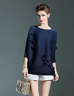 Dames Eenvoudig Herfst T-shirt,Casual/Dagelijks Effen Ronde hals Driekwart mouw Blauw Roze Rood Polyester