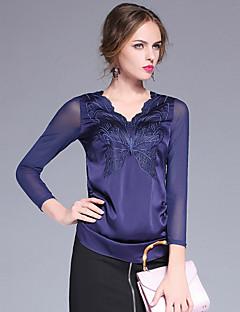 Damen Solide Einfach Lässig/Alltäglich T-shirt,V-Ausschnitt Herbst Langarm Blau / Schwarz Polyester