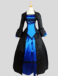 תלבושות לוליטה גותי ויקטוריאני Cosplay שמלות לוליטה Black סרוג שרוול ארוך א-סימטרי חליפת ערב ל נשים משי