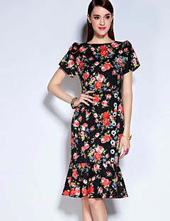 Mary Yan & Yu Women's Casual/Daily Vintage Trumpet/Mermaid DressFloral Round Neck Above Knee Short Sleeve Black Cotton / Polyester Fall Mid Rise