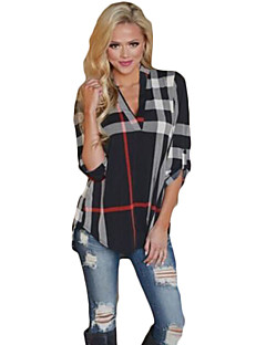 Women's Casual/Daily Simple Spring / Fall T-shirt,Geometric V Neck Long Sleeve Multi-color Cotton Medium