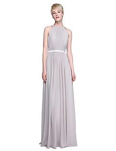 Lanting Bride® Longo Chiffon Frente Única Vestido de Madrinha - Tubinho Decorado com Bijuteria com Laço(s) / Pregueado / Faixa / Fita