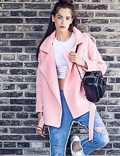 Damen Solide Einfach Lässig/Alltäglich Mantel,Herbst Winter Gekerbtes Revers Langarm Rosa Wolle Polyester
