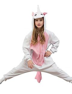 Kigurumi Pyjamas Unicorn Trikot/Heldragtskostumer Festival/Højtider Nattøj Med Dyr Halloween Lyserød Ensfarvet Polarfleece Til Barn