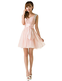 Short / Mini Chiffon Mix & Match Sets / Lace-up Bridesmaid Dress - A-line Strapless with Ruffles