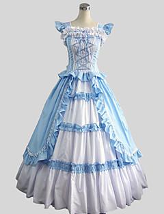 /שמלותחתיכה אחת לוליטה מתוקה ויקטוריאני Cosplay שמלות לוליטה כחול אחיד ללא שרוולים עד לקרסול שמלה ל נשים כותנה