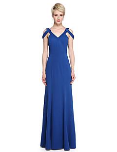 Lanting Bride® Longo Microfibra Jersey Elegante Vestido de Madrinha - Tubinho Decote V com Pregas