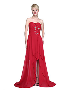 Lanting Bride® Asymmetrisch Chiffon Offener Rücken Brautjungfernkleid - A-Linie Herzausschnitt mitPerlstickerei Überkreuzte Rüschen