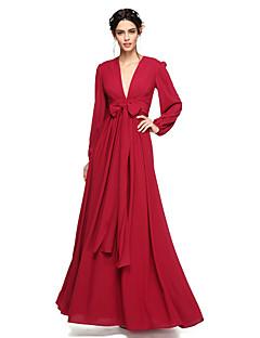 2017 Lanting andar de comprimento bride® chiffon abrir volta vestido de dama de honra / elegante - A linha V-neck com arco (s)