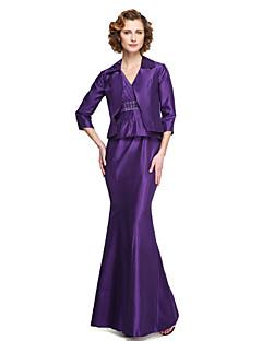 2017 lanting bride® schede / kolom moeder van de bruid jurk - twee stukken enkellange mouwloos stretch satijn