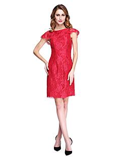 Lanting Bride® Tubinho Vestido Para Mãe dos Noivos - Elegante Curto/Mini Sem Mangas Renda  -  Renda