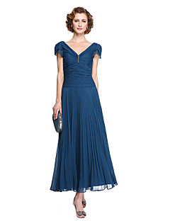 LAN TING BRIDE Sheath / Column Mother of the Bride Dress - Elegant Tea-length Short Sleeve Chiffon with Pleats