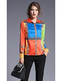 Dámské Tisk Jdeme ven Jednoduché Košile-Jaro Podzim Bavlna Košilový límec Dlouhý rukáv Oranžová Neprůhledné