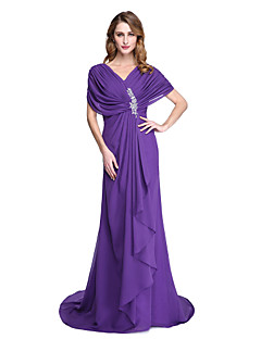 Lanting Bride® גזרת A שמלה לאם הכלה  - גב פתוח שובל קורט שרוול קצר שיפון  -  חרוזים קפלים