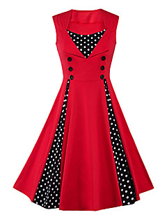 Women's Plus Size Casual/Daily Vintage Sheath Dress,Polka Dot Round Neck Knee-length Sleeveless Blue Red Green Cotton Polyester Summer