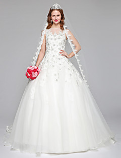 2017 Lanting Bride® A-line Wedding Dress Simply Sublime Floor-length Bateau Lace Tulle with Beading Lace