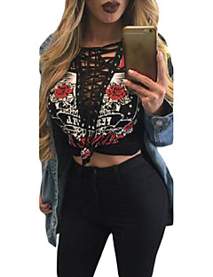 Women's Lace up Printed Lace Up V Neck Long Sleeve Shirt