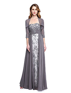 2017 Lanting Bride® A-line Mother of the Bride Dress - Wrap Included Floor-length Sleeveless Chiffon Lace with Appliques Beading Ruching