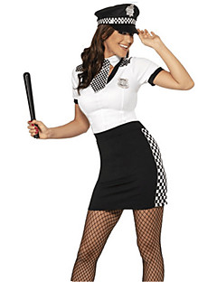 Cosplay Costumes Party Costume Police Career Costumes Movie Cosplay White Solid Dress Hat Halloween Carnival Female Polyester