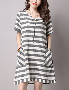 Women's Casual/Daily Street chic Loose Thin Dress Striped Round Neck Above Knee Short Sleeve Blue /Gray Cotton /Linen Summer