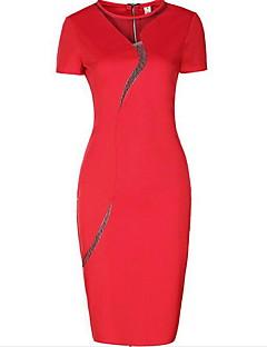 Dámské Jednoduché Velké velikosti Bodycon Šaty Jednobarevné,Krátký rukáv Kulatý Délka ke kolenům Červená Černá Bavlna Léto Mid Rise