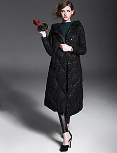Dámské Dlouhé Dlouhý kabát Jednoduché Běžné/Denní Květinový-Kabát Polyester Prachové kachní peří bílé Dlouhý rukáv Košilový límecČervená