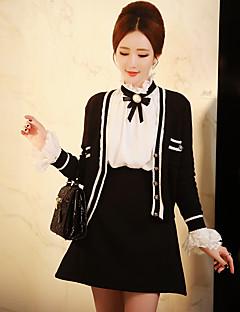 Dame Sødt Street Sofistikerede Ferie I-byen-tøj Casual/hverdag Normal Cardigan Farveblok,Sort V-hals Langærmet Bomuld Akryl Forår Efterår