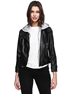 Women's Plus Size Casual/Daily Simple Leather Jackets,Solid Long Sleeve Black PU