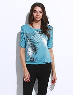 カジュアル/普段着 夏 Tシャツ,セクシー ストリートファッション ラウンドネック フラワー コットン ポリエステル 半袖 薄手