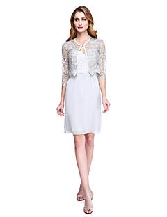 Lanting Bride® Tube / kolonne Kjole til brudens mor - Wrap er inkluderet Knælang Halvlange ærmer Chiffon Blondelukning  - Blonde Kryds &