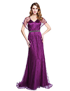 LAN TING BRIDE Tubinho Vestido Para Mãe dos Noivos - Elegante Transparente Cauda Escova Sem Mangas Renda Cetim Elástico - Miçangas Faixa