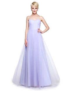 Lanting Bride® Floor-length Tulle Convertible Dress Bridesmaid Dress - A-line Plus Size / Petite with Ruffles / Side Draping