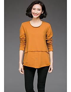 Mujer Simple Casual/Diario Otoño Camiseta,Escote Redondo Un Color Manga Larga Algodón Negro Marrón Medio