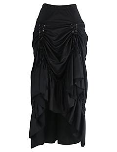 Bodycon Nederdele-Dame Plus Størrelser Ensfarvet Flettet-Sexy Vintage Højtaljede I-byen-tøj Casual/hverdag Knælængde Snørelukning Bomuld