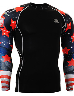 Men's Long Sleeve Running Tops Breathable Spring Sports Wear Running Spandex Tight Black Floral / Botanical