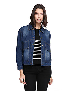 Women's Plus Size Casual/Daily Active Denim Jackets,Solid Long Sleeve Blue Others