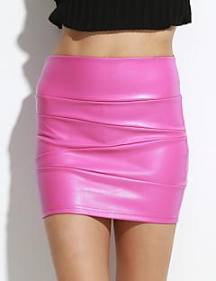 sagetech @ cintura alta das mulheres equipado saias de couro curta (mais cores)