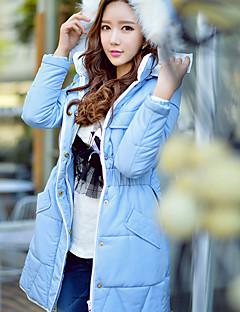 ארוך מרופד מעיל נשים,אחיד חמוד סגנון רחוב מתוחכם ליציאה יום יומי\קז'ואל חג דמוי פרווה פוליאסטר פוליאסטר-שרוול ארוך עם קפוצ'ון כחול