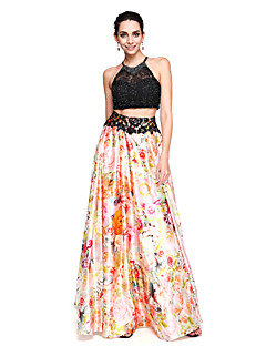 TS Couture® Prom  Formal Evening Dress - Two Pieces Color Block A-line Jewel Floor-length Lace Stretch Chiffon with Beading
