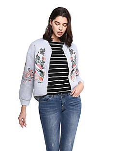Women's Going out Casual/Daily Sophisticated Jackets,Embroidered Long Sleeve Black Gray Cotton