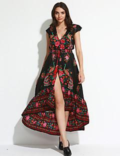 Dames Uitgaan / Strand Vintage Wijd uitlopend Jurk Bloemen-Diepe V-hals Maxi Korte mouw Zwart Polyester Zomer / Herfst Medium taille